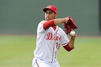 Pitcher Francisco Taveras (39) of the Greenville Drive in a game against the Rome Braves on Thursday, August 22, 2013, at Fluor Field at the West End in Greenville, South Carolina. Rome won, 7-3. (Tom Priddy/Four Seam Images)
