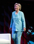 Hillary Clinton, the Democratic Party nominee for President of the United States, arrives to make remarks at the 2016 National Association of Black Journalists (NABJ) and National Association of Hispanic Journalists (NAHJ) joint convention at the Washington Marriott Wardman Park Hotel in Washington, DC on Friday, August 5, 2016.  Following her prepared remarks, Secretary Clinton took questions from the moderators and from the audience.<br /> Credit: Ron Sachs / CNP<br /> (RESTRICTION: NO New York or New Jersey Newspapers or newspapers within a 75 mile radius of New York City)