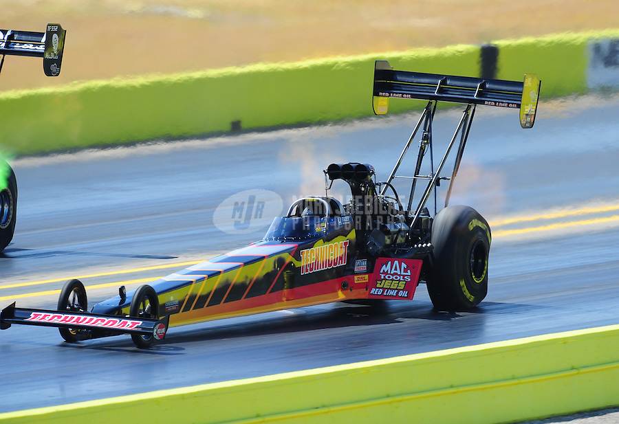 Sept. 24, 2011; Ennis, TX, USA: NHRA top fuel dragster driver Doug Kalitta during qualifying for the Fall Nationals at the Texas Motorplex. Mandatory Credit: Mark J. Rebilas-