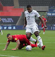 Bristol City's Jack Hunt (left) battles for possession with Swansea City's Marc Guehi (right) <br /> <br /> Photographer David Horton/CameraSport<br /> <br /> The EFL Sky Bet Championship - Swansea City v Bristol City- Saturday 18th July 2020 - Liberty Stadium - Swansea<br /> <br /> World Copyright © 2019 CameraSport. All rights reserved. 43 Linden Ave. Countesthorpe. Leicester. England. LE8 5PG - Tel: +44 (0) 116 277 4147 - admin@camerasport.com - www.camerasport.com