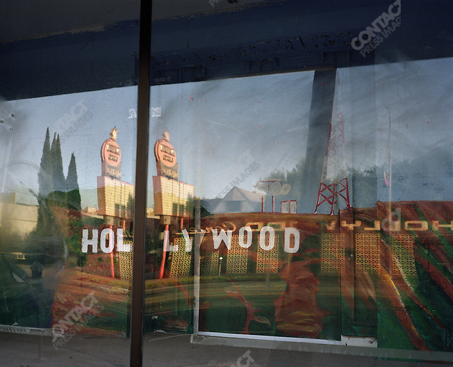 Hollywood signs in window, Sunset Boulevard, Los Angeles, California, USA, 2011
