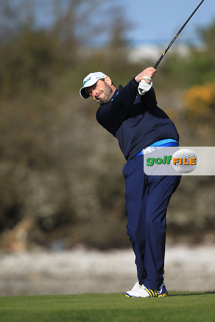 D. O'Donovan (Muskerry) on the 4th tee during Round 1 of the Munster Stroke Play Championship at Cork Golf Club on Saturday 30th April 2016.<br /> Picture:  Thos Caffrey / www.golffile.ie