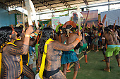 "Altamira, Brazil. ""Xingu Vivo Para Sempre"" protest meeting about the proposed Belo Monte hydroeletric dam and other dams on the Xingu river and its tributaries. Kayapo women and men protesting."