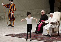 "Pope Francis watches dancer Jorge Garcia Lamelas performing during an audience with members of the ""Yo Puedo!"" project in the Paul VI hall at the Vatican on November  30, 2019.<br /> UPDATE IMAGES PRESS/Isabella Bonotto<br /> <br /> STRICTLY ONLY FOR EDITORIAL USE"