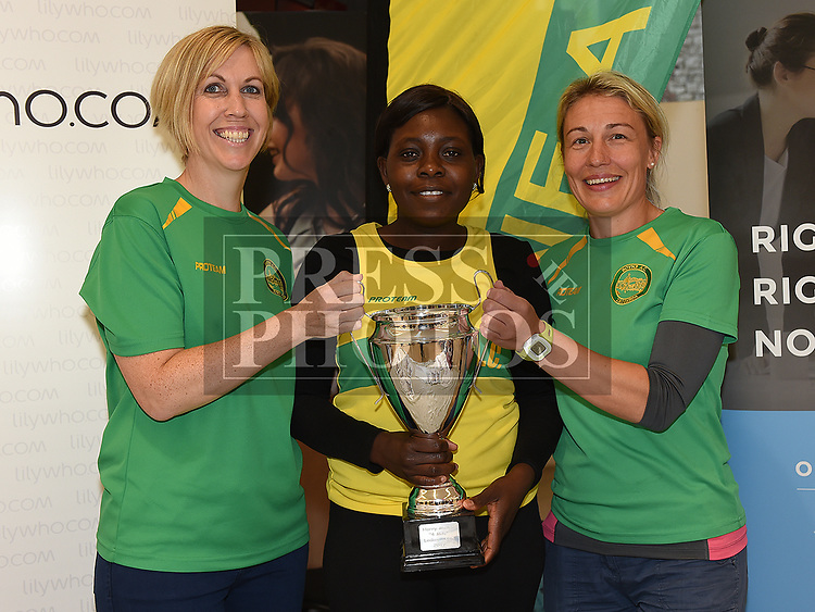 Boyne AC members Judith Faulkner, Ola Raji and Rebecca Carolan with the Harry Mallon Ladies Team trophy  at the launch of the Willie Connor / Harry Mallon Memorial 4 mile run/walk in Scotch Hall. Photo:Colin Bell/pressphotos.ie