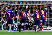 30th January 2019, Camp Nou, Barcelona, Spain; Copa del Rey football, quarter final, second leg, Barcelona versus Sevilla; Jasper Cillessen of FC Barcelona saves the penalty from Seville