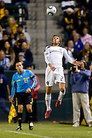 LA Galaxy midfielder David Beckham leaps high for a head ball. The LA Galaxy defeated the Columbus Crew 3-1 at Home Depot Center stadium in Carson, California on Saturday Sept 11, 2010.