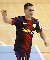FC Barcelona Alusport's Saad Assis celebrates goal during Spanish National Futsal League match.November 24,2012. (ALTERPHOTOS/Acero) /NortePhoto