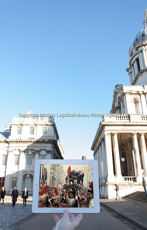 """Pictured: Filming of Les Miserables at the old Royal Naval College in Greenwich, London<br /> Re: A pair of film lovers have turned detective to track down locations from films and TV shows - and capture the exact scenes on their iPads.<br /> Tiia Ohman, 25, and Satu Walden, 26, travel hundreds of miles across Britain tracing the footsteps of their movie heroes to photograph the action spots.<br /> The two young women who live in Cardiff painstakingly recreate their favourite scenes using an iPad or phone screens to stand in for the stars.<br /> They've brought to life scenes from silver screen blockbuster such as Harry Potter, Les Miserables and Warhorse.<br /> And their """"sceneframing"""" shots also feature locations seen in Dr Who, Sherlock and Merlin.<br /> Tiia said: """"This combines our love of TV and movies, photography, travel and much more.<br /> """"What started as an epic road trip to filming locations all over the UK eventually led to a series of photos we like to call sceneframing.<br /> """"Visiting filming locations is the perfect way to see places you wouldn't necessarily find in Lonely Planet books and travel guides.""""<br /> Tiia and Satu, originally from Finland, live in Cardiff where they spend their spare time researching film locations.<br /> Their """"fangirl quest"""" blog (www.fangirlquest.com) has already seen them cover more than 2,000 miles travelling across the country including top locations in Cardiff, Newport and Pembrokeshire."""
