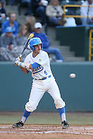 Shane Zeile #9 of the UCLA Bruins bats against the Arizona State Sun Devils at Jackie Robinson Stadium on March 28, 2014 in Los Angeles, California. UCLA defeated Arizona State 7-3. (Larry Goren/Four Seam Images)