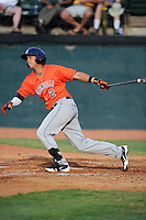 Third baseman Luis Reynoso (2) of the Greeneville Astros bats in a game against the Bristol Pirates on Saturday, July 26, 2014, at DeVault Memorial Stadium in Bristol, Virginia. Greeneville won, 2-1 in Game 1 of a doubleheader. (Tom Priddy/Four Seam Images)