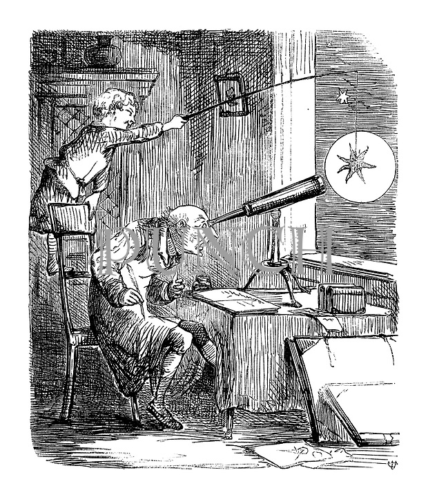 (Boy dangles star in front of old man's telescope)