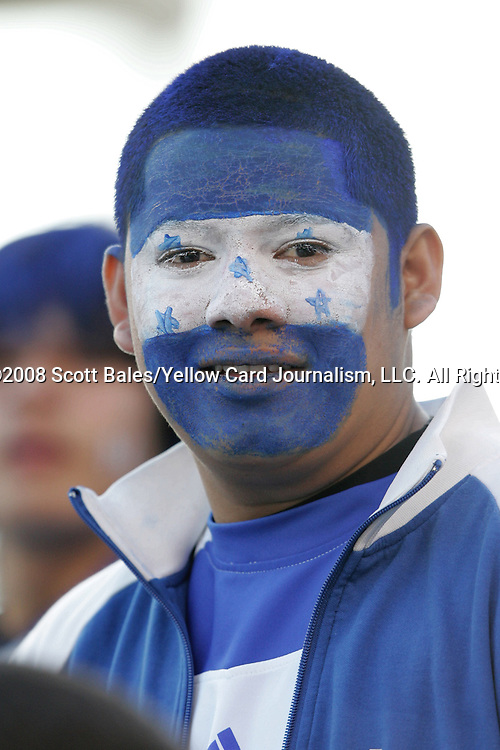 20 March 2008: Unidentified Honduras fan. The Honduras U-23 Men's National Team defeated the Guatemala U-23 Men's National Team 6-5 on penalty kicks after a 0-0 overtime tie at LP Field in Nashville,TN in a semifinal game during the 2008 CONCACAF Men's Olympic Qualifying Tournament. With the penalty kick victory, Honduras qualifies for the 2008 Beijing Olympics.