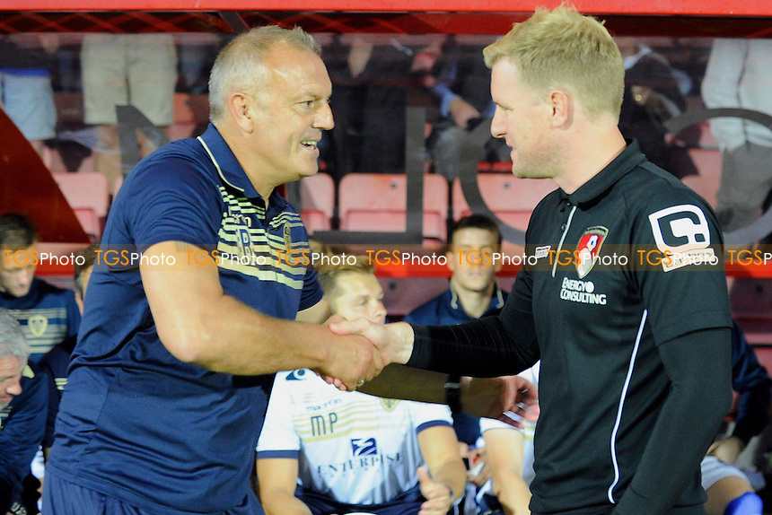 Leeds United Manager Neil Redfearn and `bm` shake hands before kick off - AFC Bournemouth vs Leeds United - Sky Bet Championship Football at the Goldsands Stadium, Kings Park, Boscombe, Bournemouth, Dorset - 16/09/14 - MANDATORY CREDIT: Denis Murphy/TGSPHOTO - Self billing applies where appropriate - contact@tgsphoto.co.uk - NO UNPAID USE