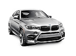 Silver 2016 BMW X6 M crossover SUV luxury car isolated on white background with clipping path Image © MaximImages, License at https://www.maximimages.com