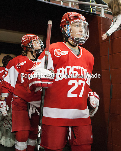 Marie-Philip Poulin (BU - 29), Jordan Juron (BU - 27) -  The Boston College Eagles defeated the visiting Boston University Terriers 5-0 on BC's senior night on Thursday, February 19, 2015, at Kelley Rink in Conte Forum in Chestnut Hill, Massachusetts.
