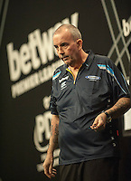 09.04.2015. Sheffield, England. Betway Premier League Darts. Matchday 10.  Phil Taylor [ENG] reacts during his game with Raymond van Barneveld [NED]