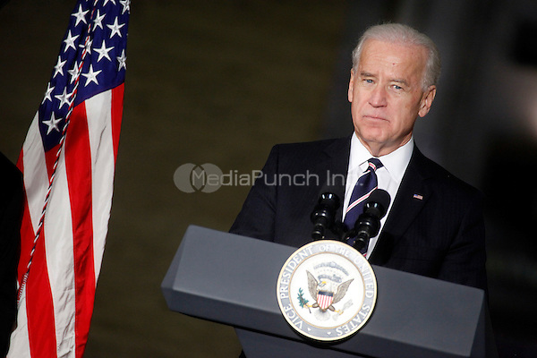 Vice President Biden pictured making an announcement with Transportation Secretary Ray LaHood during a visit to Philadelphia's historic 30th Street Station in Philadelphia, Pa on February 8, 2011  © Star Shooter / MediaPunchInc