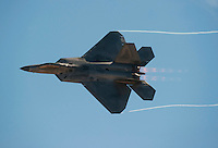 "121014-N-DR144-472 SAN DIEGO (October 14, 2012)- A United States Air Force F-22 Raptor performs during the Marine Corps Air Station Miramar 2012 Air Show. The air show, held October 12-14, was themed ""Marines In Flight: Celebrating 50 Years of Space Exploration."" (U.S. Navy photo by Mass Communication Specialist 1st Class James R. Evans / RELEASED)"