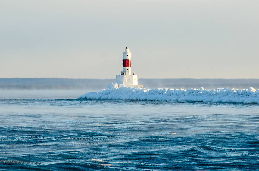 Steam rising from Lake Superior on a sub-zero day. Presque Isle Breakwall - Marquette, MI