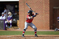 Evan Pietronico (4) of the NJIT Highlanders at bat against the High Point Panthers at Williard Stadium on February 18, 2017 in High Point, North Carolina. The Panthers defeated the Highlanders 11-0 in game one of a double-header. (Brian Westerholt/Four Seam Images)