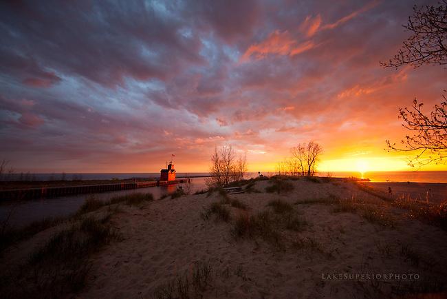 Big Red, Holland Harbor Lighthouse, sunset, landscape