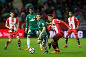 13th April 2018, Estadi Montilivi, Girona, Spain; La Liga football, Girona versus Real Betis; Andres Guardado shields the ball from Anthony Lozano of Girona