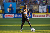 Freddy Adu (11) of the Philadelphia Union. The Chicago Fire defeated the Philadelphia Union 3-1 during a Major League Soccer (MLS) match at PPL Park in Chester, PA, on August 12, 2012.