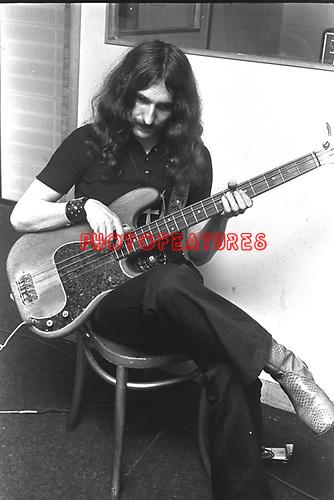 Black Sabbath 1970 Geezer Butler at Regents Sounds during Paranoid sessions<br /> &copy; Chris Walter