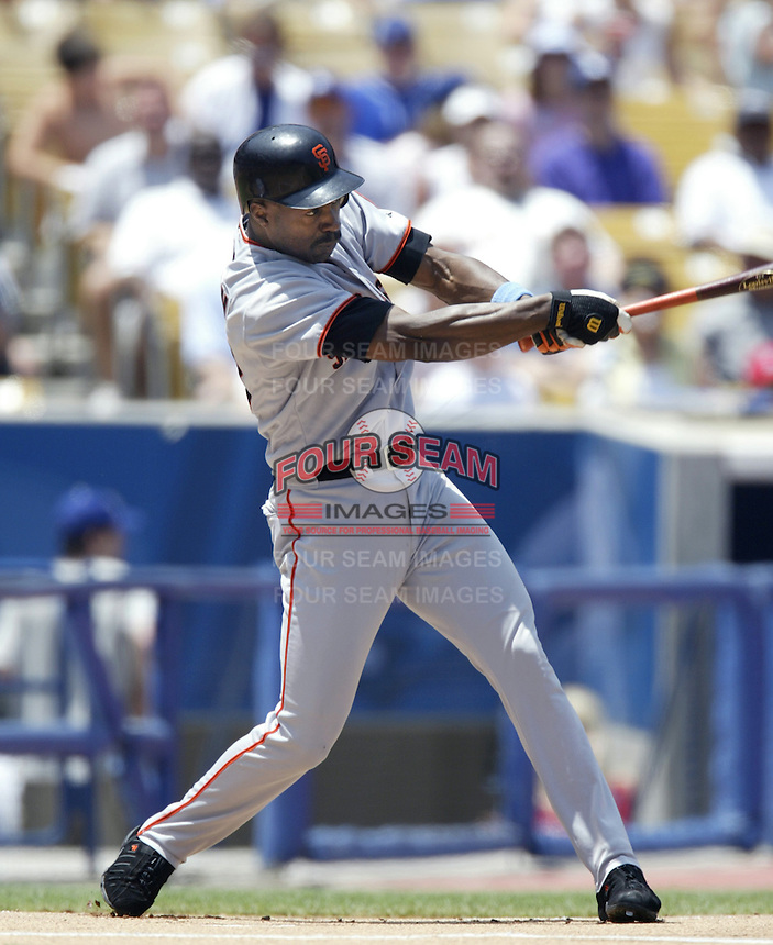 Shawon Dunston of the San Francisco Giants bats during a 2002 MLB season game against the Los Angeles Dodgers at Dodger Stadium, in Los Angeles, California. (Larry Goren/Four Seam Images)