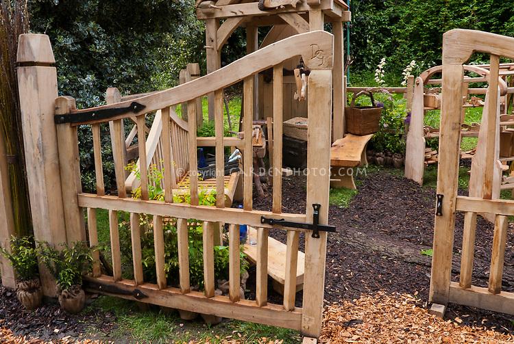 Large wooden handmade Garden gate fence