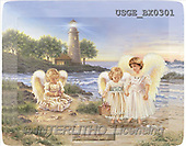 Dona Gelsinger, CHILDREN, paintings, 3 angels, lighthouse(USGEBX0301,#K#) Kinder, niños, illustrations, pinturas angels, ,everyday