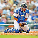 12 March 2008: Los Angeles Dodgers' catcher Rene Rivera makes a stop during a Spring Training game against the Washington Nationals at Holman Stadium, in Vero Beach, Florida. The Nationals defeated the Dodgers 10-4 at the historic Dodgertown ballpark. 2008 marks the final season of Spring Training at Dodgertown for the Dodgers, as the team will move to new training facilities in Arizona starting in 2009 after 60 years in Florida...Mandatory Photo Credit: Ed Wolfstein Photo