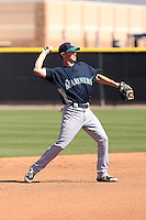 Nick Franklin #10 of the Seattle Mariners participates in spring training workouts at the Mariners minor league complex on March 19, 2011  in Peoria, Arizona. .Photo by:  Bill Mitchell/Four Seam Images.