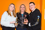 Julia O'Connell, present with the NVP ladies Div 1 winners cup and Mary Gardner, KAB, Sean Scanlon receiving on behalf of brother Thomas Scanlon, Mens Div 3 player of the year  at The Kerry Area Basketball Board annual Awards and Medal presentations at the Kingdom Greyhound Stadium Tralee on  Tuesday