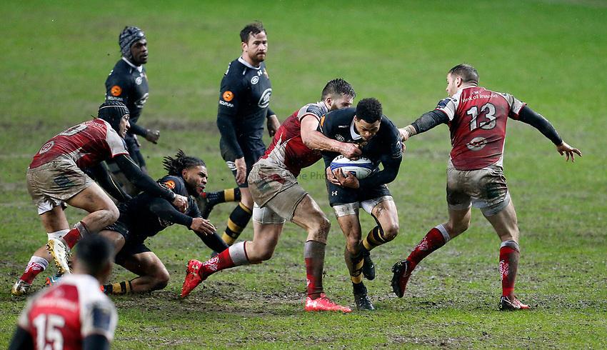 Photo: Richard Lane/Richard Lane Photography. Wasps v Ulster Rugby.  European Rugby Champions Cup. 21/01/2018. Wasps' Juan De Jongh attacks.