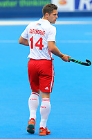 Mark Gleghorne of England during the Hockey World League Semi-Final match between England and Netherlands at the Olympic Park, London, England on 24 June 2017. Photo by Steve McCarthy.