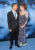 Jacob Anderson &amp; Aisling Loftus at the season seven premiere for &quot;Game of Thrones&quot; at the Walt Disney Concert Hall, Los Angeles, USA 12 July  2017<br /> Picture: Paul Smith/Featureflash/SilverHub 0208 004 5359 sales@silverhubmedia.com