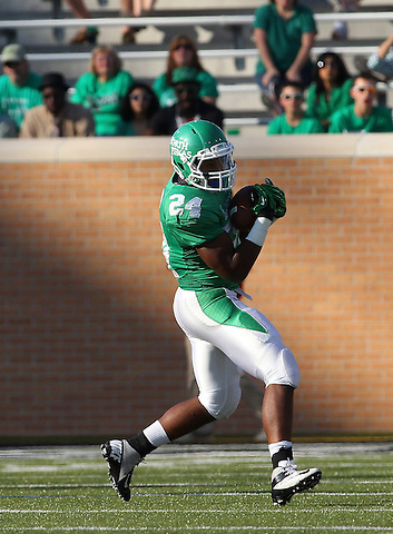 Denton, TX - NOVEMBER 3: Brandin Byrd #24 of the North Texas Mean Green makes a reception against the Arkansas State Red Wolves at Apogee Stadium in Denton on November 3, 2012 in Denton, Texas. Photo by: Rick Yeatts