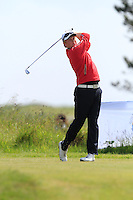 Eanna Griffin (Waterford) on the 1st tee during Round 1 of the Irish Amateur Close Championship at Seapoint Golf Club on Saturday 7th June 2014.<br /> Picture:  Thos Caffrey / www.golffile.ie
