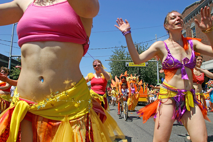 "Seattle, Fremont Solstice Parade, Fremont neighborhood has dubbed itself the ""Center of the Universe"" Washington State, Pacific Northwest, USA,."