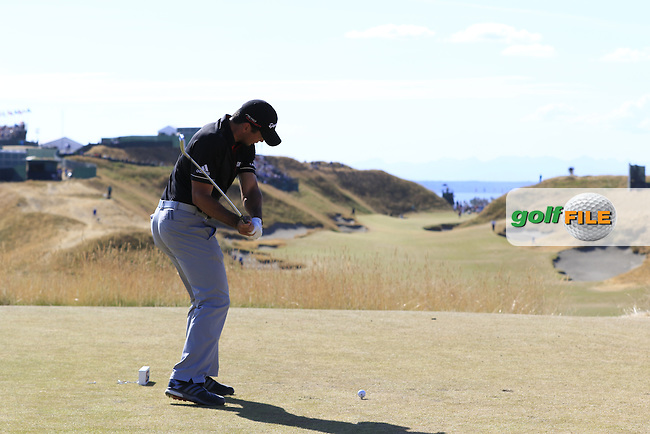 Jason DAY (AUS) tees off the 10th tee during Sunday's Final Round of the 2015 U.S. Open 115th National Championship held at Chambers Bay, Seattle, Washington, USA. 6/22/2015.<br /> Picture: Golffile | Eoin Clarke<br /> <br /> <br /> <br /> <br /> All photo usage must carry mandatory copyright credit (&copy; Golffile | Eoin Clarke)