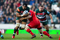 Sione Kalamafoni of Leicester Tigers takes on the Saracens defence. Gallagher Premiership match, between Leicester Tigers and Saracens on November 25, 2018 at Welford Road in Leicester, England. Photo by: Patrick Khachfe / JMP