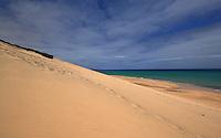Sand dunes on deserted beach , Playa de Sotaventa de Jandia ,Fuerteventura, Canary Islands,Spain.