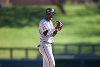 Salt River Rafters shortstop Geraldo Perdomo (7), of the Arizona Diamondbacks organization, celebrates after winning the Arizona Fall League Championship Game against the Surprise Saguaros on October 26, 2019 at Salt River Fields at Talking Stick in Scottsdale, Arizona. The Rafters defeated the Saguaros 5-1. (Zachary Lucy/Four Seam Images)