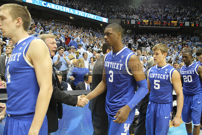 UK players shake hands with coaches after a loss at North Carolina on Dec. 4, 2010.  Photo by Latara Appleby | Staff