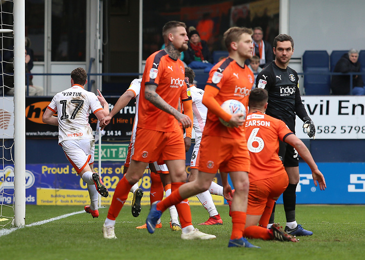 Blackpool's Matty Virtue celebrates scoring his side's second goal <br /> <br /> Photographer David Shipman/CameraSport<br /> <br /> The EFL Sky Bet League One - Luton Town v Blackpool - Saturday 6th April 2019 - Kenilworth Road - Luton<br /> <br /> World Copyright © 2019 CameraSport. All rights reserved. 43 Linden Ave. Countesthorpe. Leicester. England. LE8 5PG - Tel: +44 (0) 116 277 4147 - admin@camerasport.com - www.camerasport.com