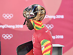 Akwasi Frompong (GHA). Skeleton training. Alpensia sliding centrePyeongchang2018 winter Olympics. Alpensia. Republic of Korea. 13/02/2018. ~ MANDATORY CREDIT Garry Bowden/SIPPA - NO UNAUTHORISED USE - +44 7837 394578
