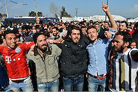 Pictured: Migrant protest against the border being shut Tuesday 01 March 2016<br />Re: Thousands of migrants, still stranded at the Greek FYRO Macedonian border in Idomeni, Greece