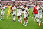14.04.2018, BayArena, Leverkusen , GER, 1.FBL., Bayer 04 Leverkusen vs. Eintracht Frankfurt<br /> im Bild / picture shows: <br /> die Frankfurter verabschieden sich v&ouml;llig fertig von den Fans Simon Falette (Frankfurt #3),  <br /> Jetro Willems (Frankfurt #15),  <br /> Torwart Lukas Hradecky (Frankfurt #1),  <br /> Luka Jozic (Frankfurt #8),  <br /> <br /> <br /> Foto &copy; nordphoto / Meuter